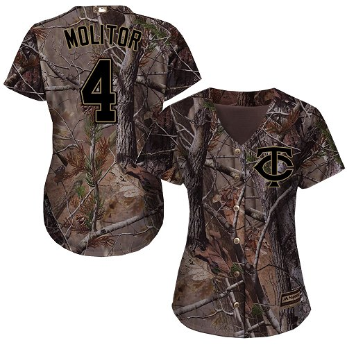 Women's Majestic Minnesota Twins #4 Paul Molitor Authentic Camo Realtree Collection Flex Base MLB Jersey
