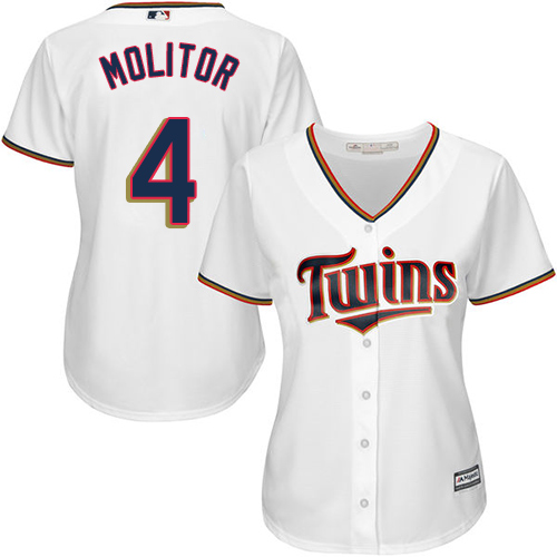 Women's Majestic Minnesota Twins #4 Paul Molitor Authentic White Home Cool Base MLB Jersey