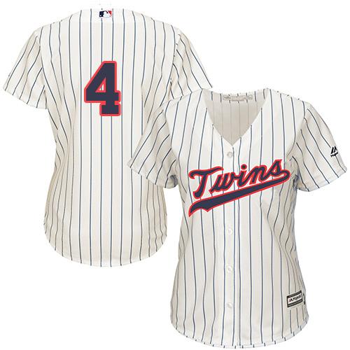 Women's Majestic Minnesota Twins #4 Paul Molitor Replica Cream Alternate Cool Base MLB Jersey