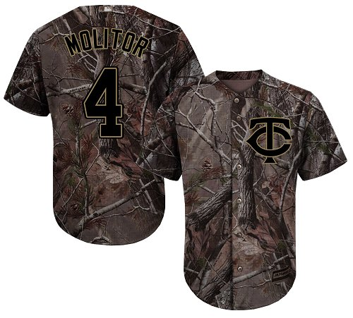 Youth Majestic Minnesota Twins #4 Paul Molitor Authentic Camo Realtree Collection Flex Base MLB Jersey