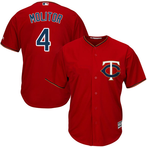 Youth Majestic Minnesota Twins #4 Paul Molitor Authentic Scarlet Alternate Cool Base MLB Jersey