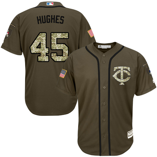 Men's Majestic Minnesota Twins #45 Phil Hughes Authentic Green Salute to Service MLB Jersey