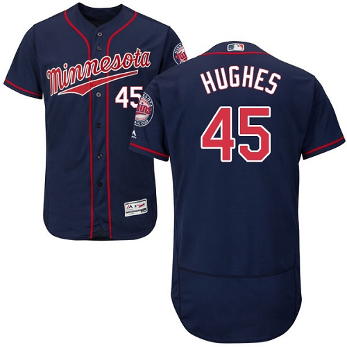 Men's Majestic Minnesota Twins #45 Phil Hughes Authentic Navy Blue Alternate Flex Base Authentic Collection MLB Jersey