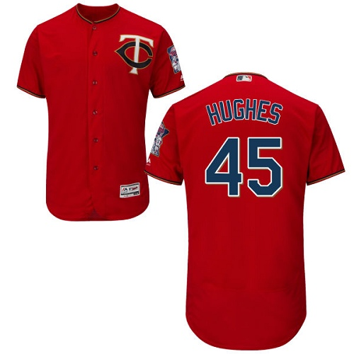 Men's Majestic Minnesota Twins #45 Phil Hughes Authentic Scarlet Alternate Flex Base Authentic Collection MLB Jersey