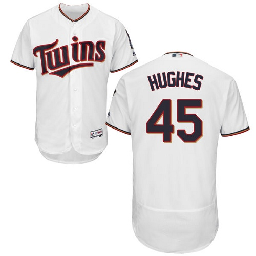 Men's Majestic Minnesota Twins #45 Phil Hughes White Home Flex Base Authentic Collection MLB Jersey