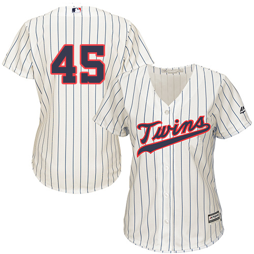 Women's Majestic Minnesota Twins #45 Phil Hughes Replica Cream Alternate Cool Base MLB Jersey