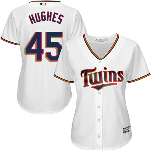 Women's Majestic Minnesota Twins #45 Phil Hughes Replica White Home Cool Base MLB Jersey