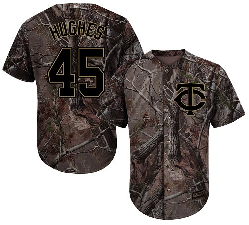 Youth Majestic Minnesota Twins #45 Phil Hughes Authentic Camo Realtree Collection Flex Base MLB Jersey