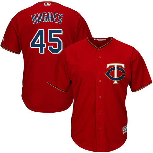 Youth Majestic Minnesota Twins #45 Phil Hughes Replica Scarlet Alternate Cool Base MLB Jersey