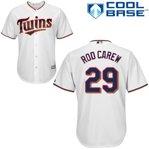 Men's Majestic Minnesota Twins #29 Rod Carew Replica White Home Cool Base MLB Jersey