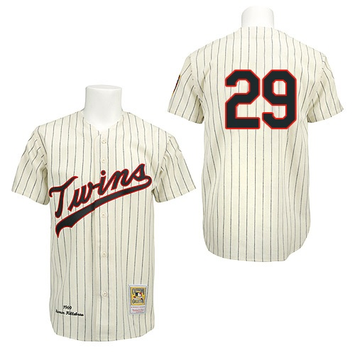 Men's Mitchell and Ness 1969 Minnesota Twins #29 Rod Carew Replica Cream Throwback MLB Jersey