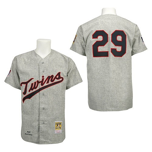 Men's Mitchell and Ness 1969 Minnesota Twins #29 Rod Carew Replica Grey Throwback MLB Jersey