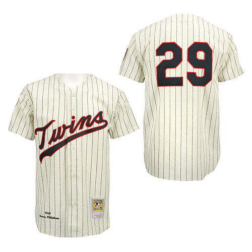 Men's Mitchell and Ness Minnesota Twins #29 Rod Carew Replica Cream/Black Strip Throwback MLB Jersey