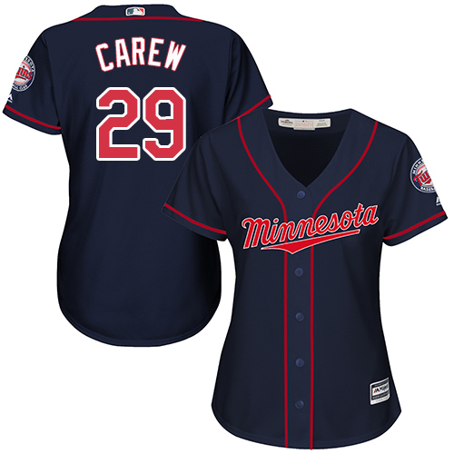 Women's Majestic Minnesota Twins #29 Rod Carew Authentic Navy Blue Alternate Road Cool Base MLB Jersey