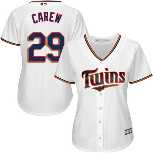Women's Majestic Minnesota Twins #29 Rod Carew Replica White Home Cool Base MLB Jersey