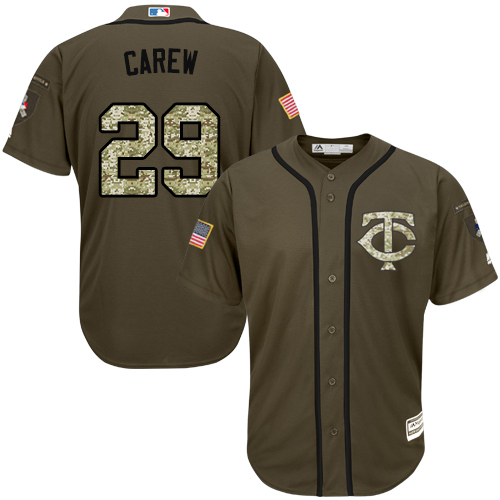 Youth Majestic Minnesota Twins #29 Rod Carew Authentic Green Salute to Service MLB Jersey