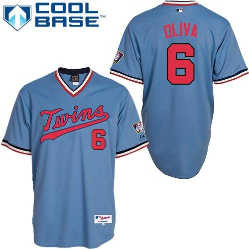 Men's Majestic Minnesota Twins #6 Tony Oliva Authentic Light Blue 1984 Turn Back The Clock MLB Jersey