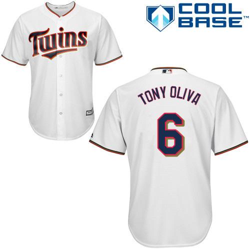 Men's Majestic Minnesota Twins #6 Tony Oliva Replica White Home Cool Base MLB Jersey