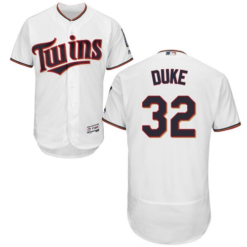 Men's Majestic Minnesota Twins #32 Zach Duke White Home Flex Base Authentic Collection MLB Jersey