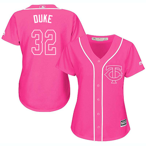 Women's Majestic Minnesota Twins #32 Zach Duke Authentic Pink Fashion Cool Base MLB Jersey
