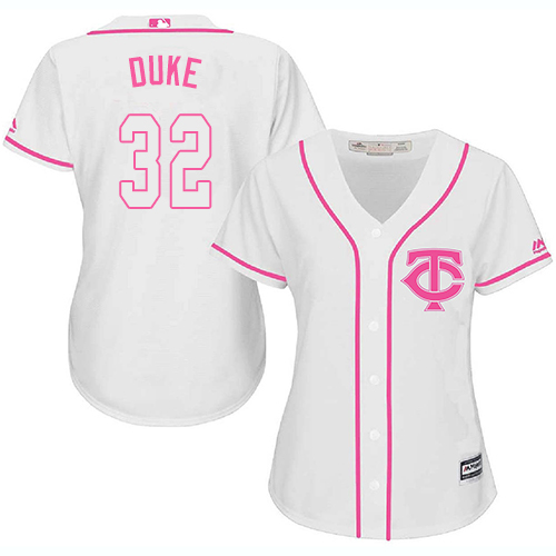 Women's Majestic Minnesota Twins #32 Zach Duke Authentic White Fashion Cool Base MLB Jersey