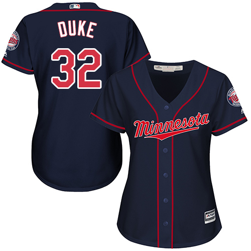 Women's Majestic Minnesota Twins #32 Zach Duke Replica Navy Blue Alternate Road Cool Base MLB Jersey