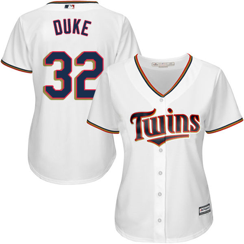 Women's Majestic Minnesota Twins #32 Zach Duke Replica White Home Cool Base MLB Jersey