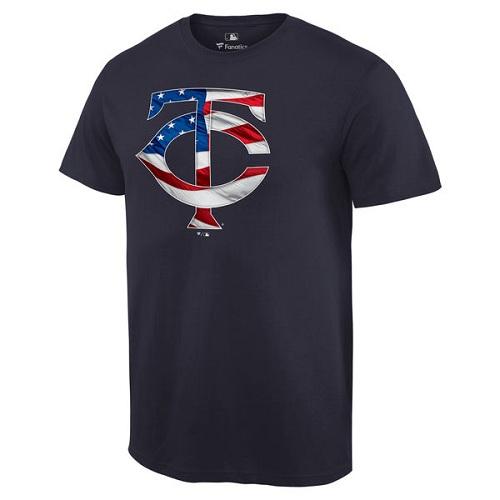 MLB Men's Minnesota Twins Navy Banner Wave T-Shirt