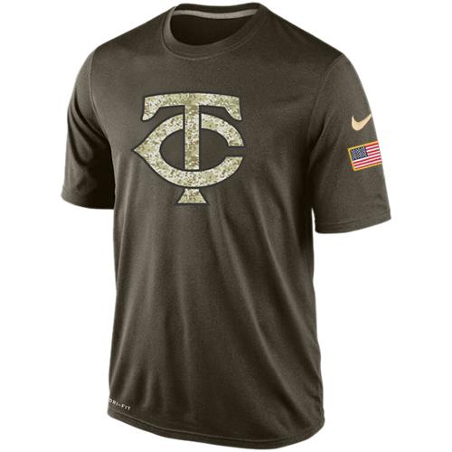 MLB Men's Minnesota Twins Nike Dri-Fit Olive Salute To Service KO Performance T-Shirt