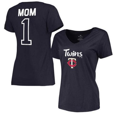 MLB Minnesota Twins Women's 2017 Mother's Day #1 Mom V-Neck T-Shirt - Navy