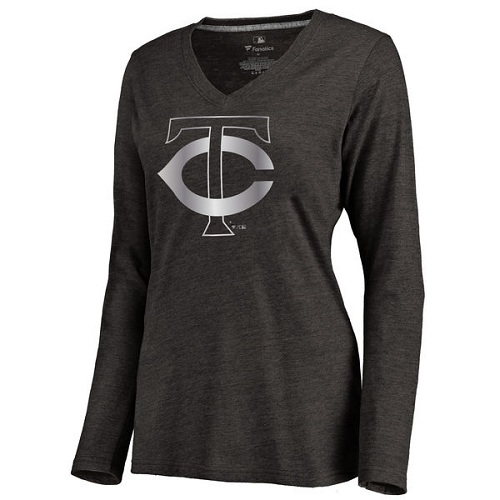 MLB Minnesota Twins Women's Platinum Collection Long Sleeve V-Neck Tri-Blend T-Shirt - Black