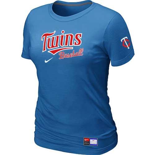 MLB Women's Minnesota Twins Nike Practice T-Shirt - Light Blue