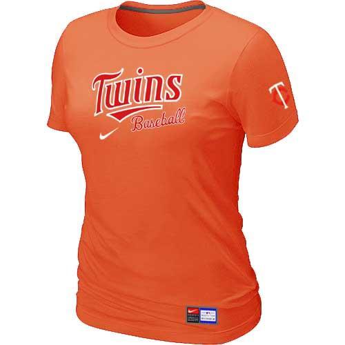MLB Women's Minnesota Twins Nike Practice T-Shirt - Orange