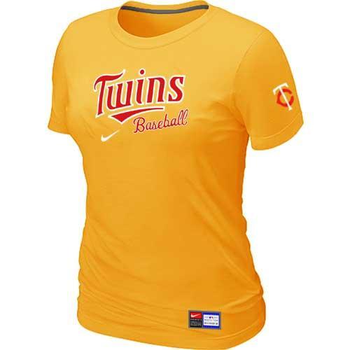 MLB Women's Minnesota Twins Nike Practice T-Shirt - Yellow